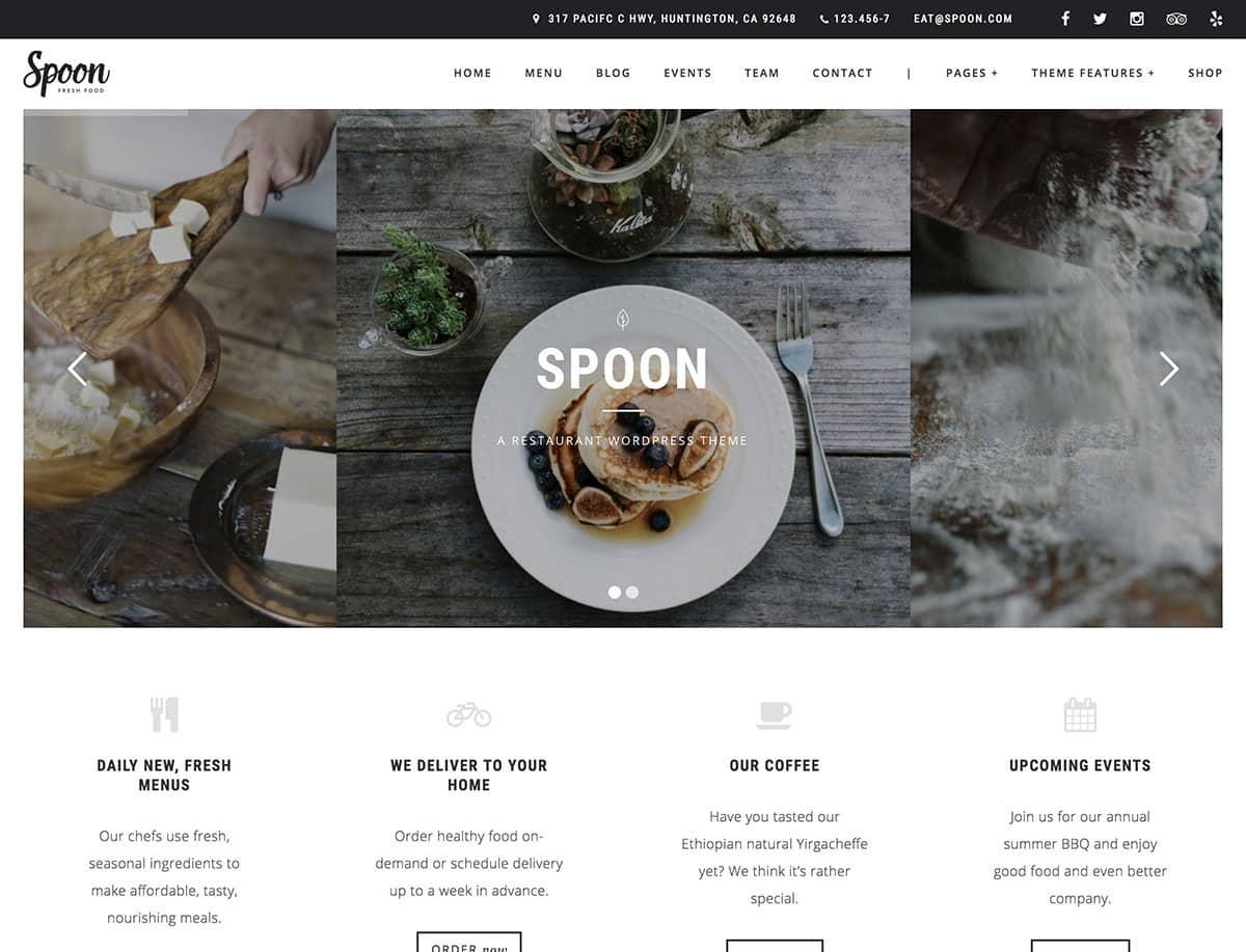 Spoon - 51+ Best Restaurant WordPress Themes [year]