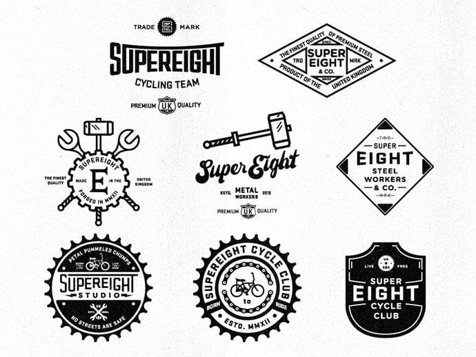 Super-8-V1-V8-by-Nick-Slater - 50+ Fantastic BEST FREE Typographic Logo Badge Designs