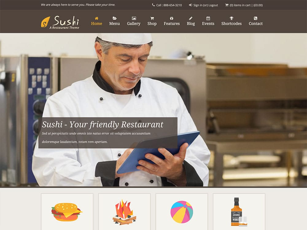 Sushi - 51+ Best Restaurant WordPress Themes [year]