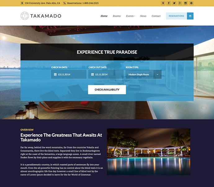 Takamado - 30+ Amazing Resorts & Hotels WordPress Themes [year]