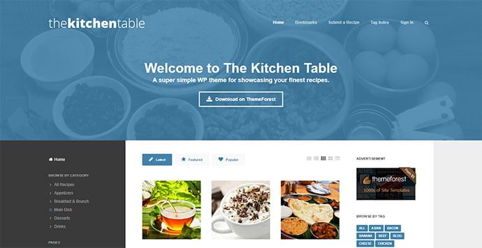 The-Kitchen-Table - 36+ Delicious Cooking Idea Share WordPress Themes [year]