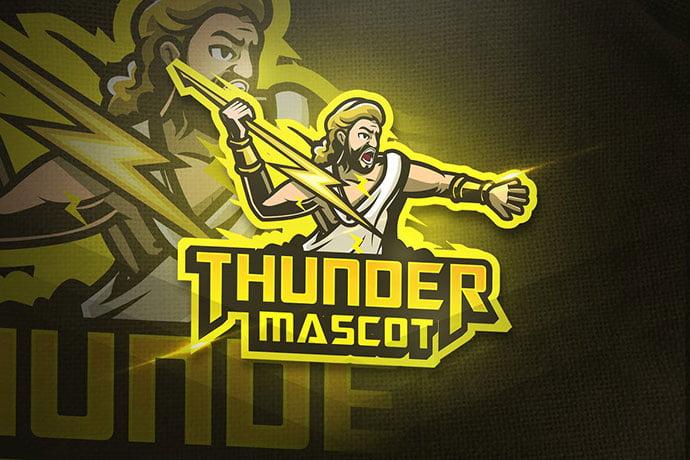 Thunder-Mascot - 60+ Personal & Team Branding AI & EPS eSports Logo Templates [year]
