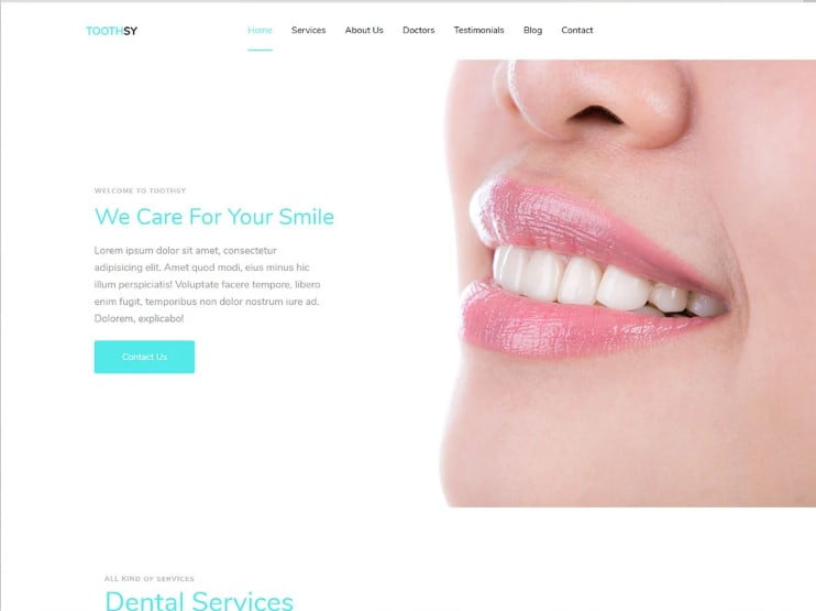 Toothsy - 77+ Best Free HTML & CSS Clean Simple Website Templates [year]