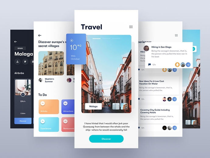 Travel-App-Light - 46+ Free Inspiration of Travel Web UI Designs [year]