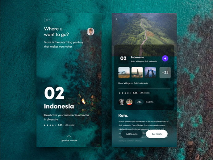 Travel-App-Screens-1 - 46+ Free Inspiration of Travel Web UI Designs [year]