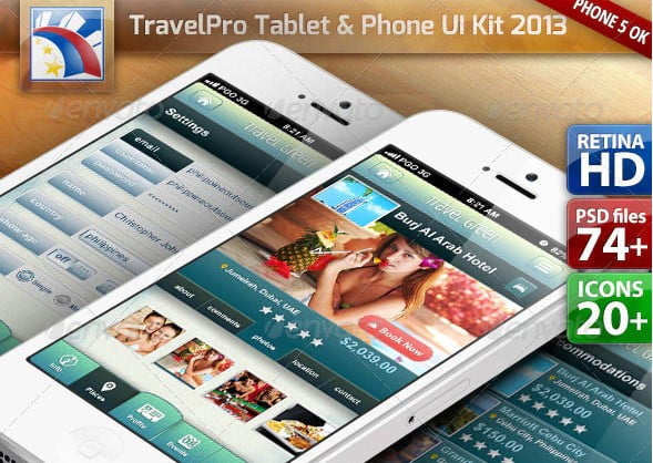 Travel-UI-Kit-for-PhoneTablet-Retina-HD - 46+ Free Inspiration of Travel Web UI Designs [year]
