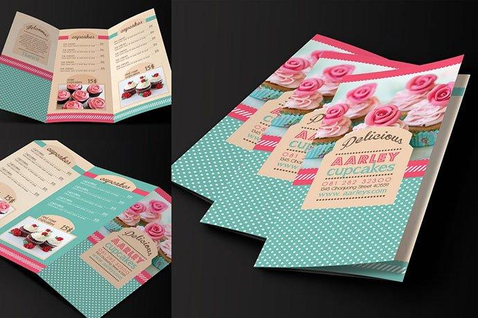 Trifold-Cupcakes-Menu-Template - 35+ NICE Cake and Bakery Menu Design [year]