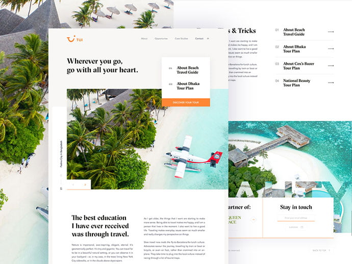 Tui - 46+ Free Inspiration of Travel Web UI Designs [year]