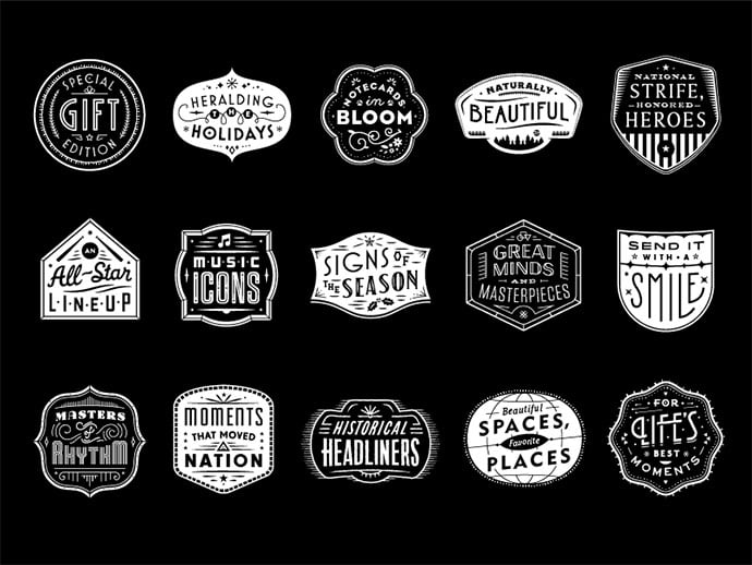 USPS-Holiday-Badges-by-Seth-Nickerson - 50+ Fantastic BEST FREE Typographic Logo Badge Designs