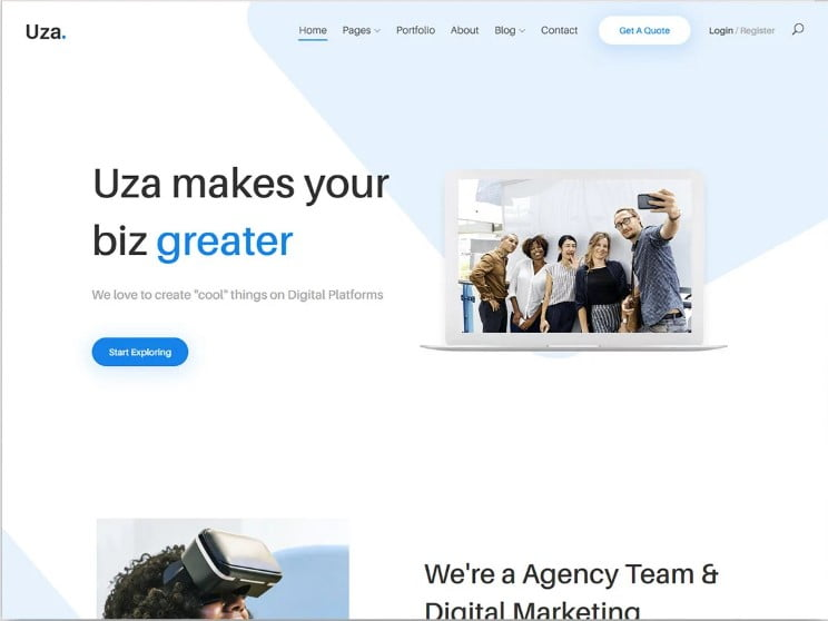 Uza - 77+ Best Free HTML & CSS Clean Simple Website Templates [year]