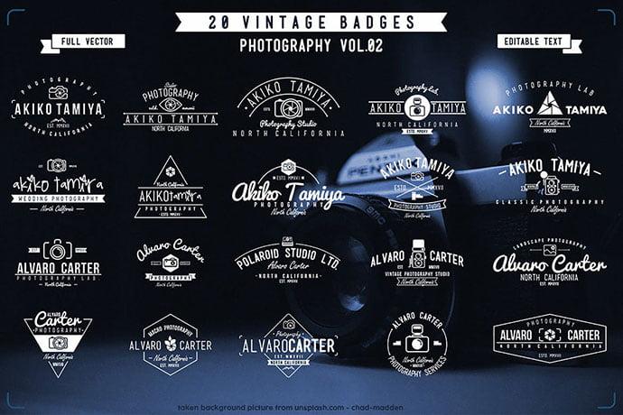 Vintage-Badge-Photography - 31+ Awesome Watermark Photographer Logo Templates [year]