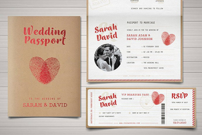 Vintage-Passport-Wedding-Invitation - 30+ Awesome Wedding Invitation Ticket Templates [year]