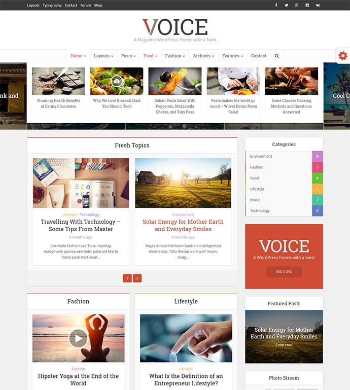 Voice - 45+ Magazine & Blog WordPress Themes To Make Your Website [year]