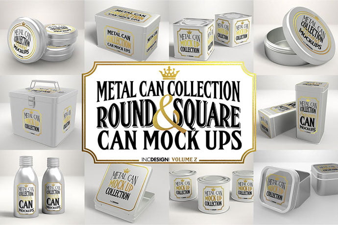 Vol.-2-Metal-Can-Mockup-Collection - 60+ Delicious Food Packaging PSD Mockup Design Templates [year]