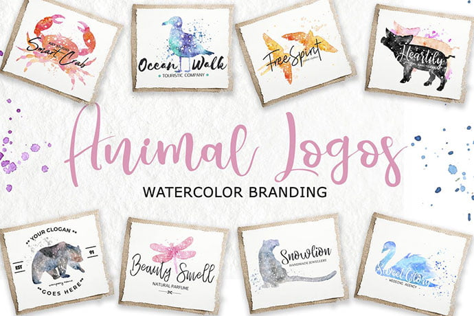 Watercolor-Animal - 35+ Lovely Watercolor Logo Designs [year]