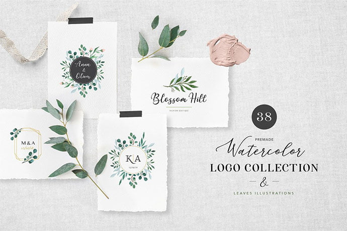 Watercolor-Logo-Collection - 35+ Lovely Watercolor Logo Designs [year]