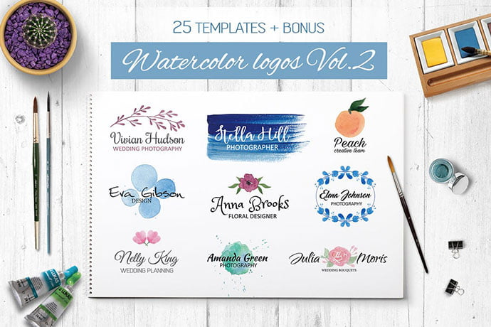 Watercolor-Logo-Templates-Vol.2 - 35+ Lovely Watercolor Logo Designs [year]
