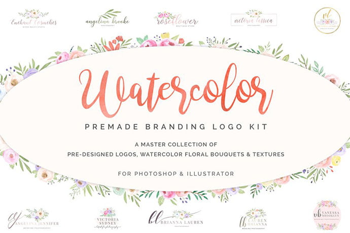 Watercolor-Premade-Branding - 35+ Lovely Watercolor Logo Designs [year]