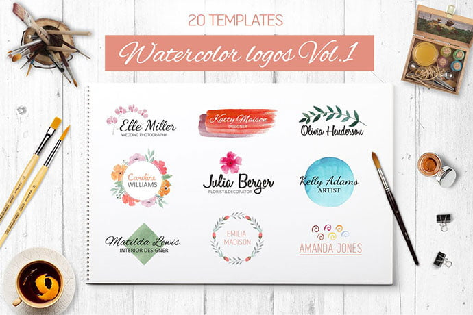 Watercolor - 35+ Lovely Watercolor Logo Designs [year]