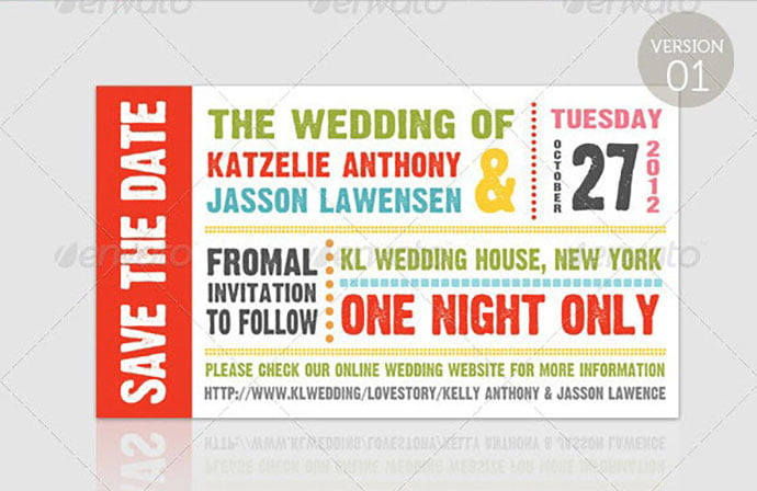 Wedding-–-Save-The-Date-–-Ticket - 30+ Awesome Wedding Invitation Ticket Templates [year]