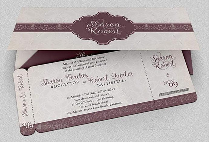Wedding-Boarding-Pass-Invitation-Template - 30+ Awesome Wedding Invitation Ticket Templates