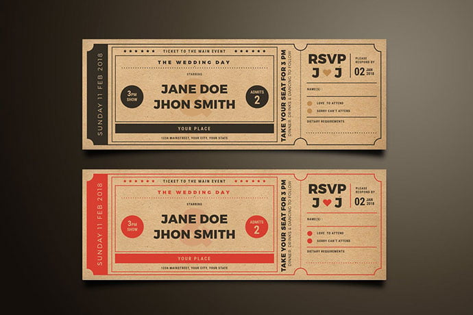 Wedding-Invitation-Movie-Ticket - 30+ Awesome Wedding Invitation Ticket Templates [year]