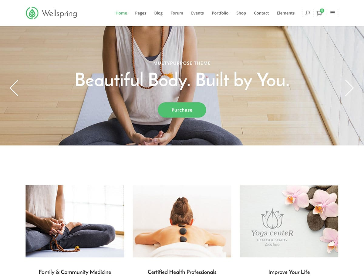 Wellspring - 32+ Best WordPress Themes For Yoga [year]
