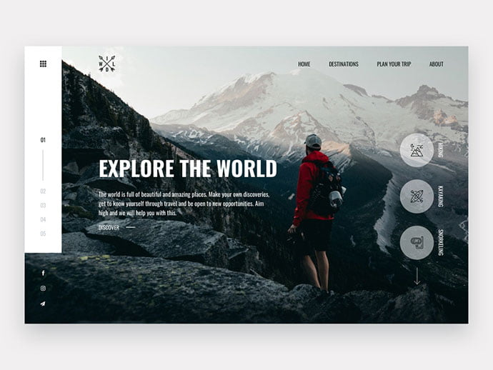 Wild - 46+ Free Inspiration of Travel Web UI Designs [year]