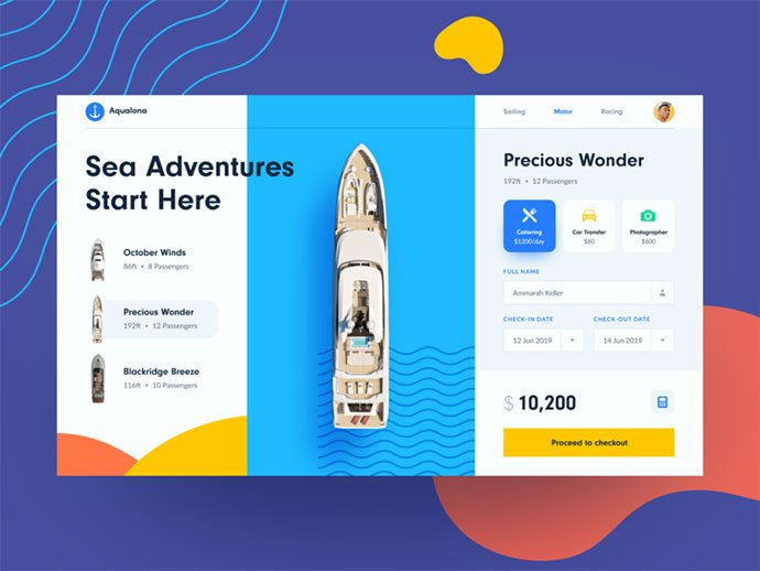 Yacht-Booking - 46+ Free Inspiration of Travel Web UI Designs [year]
