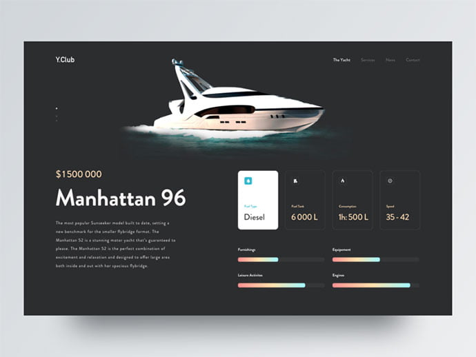 Yacht-travel-experience - 46+ Free Inspiration of Travel Web UI Designs [year]