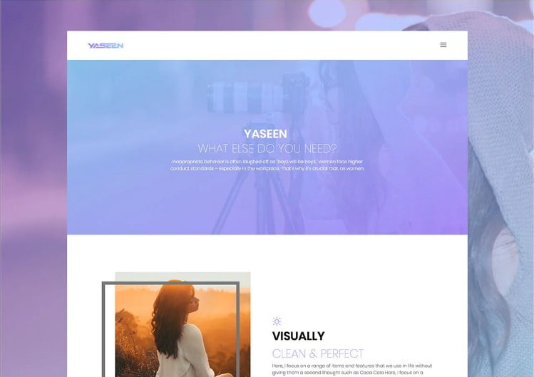 Yaseen - 77+ Best Free HTML & CSS Clean Simple Website Templates [year]
