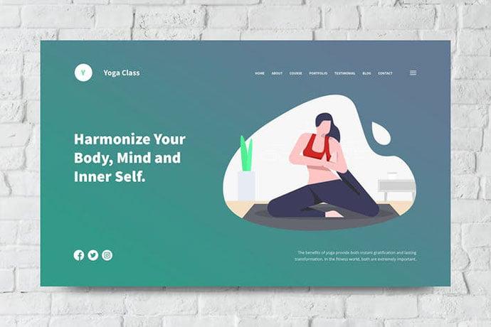 Yoga - 31+ Amazing Hero Image PSD Illustration Templates [year]
