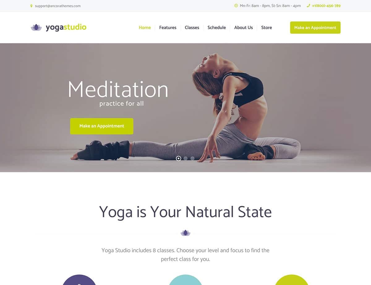 Yogastudio - 32+ Best WordPress Themes For Yoga [year]