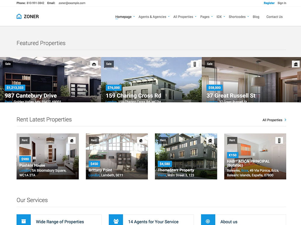 Zoner - 36+ Best WordPress Real Estate Themes [year]