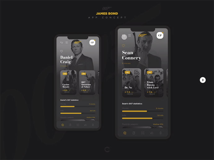 007-App-Concept - 63+ Amazing Film & TV App UI Design Sample [year]