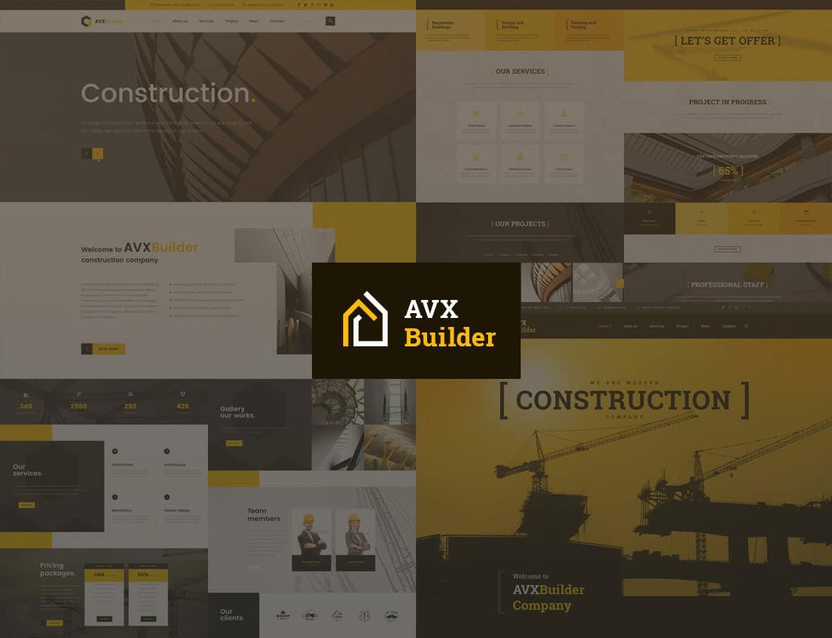 AVXBuilder - 37+ Top WordPress Themes For Construction Company [year]