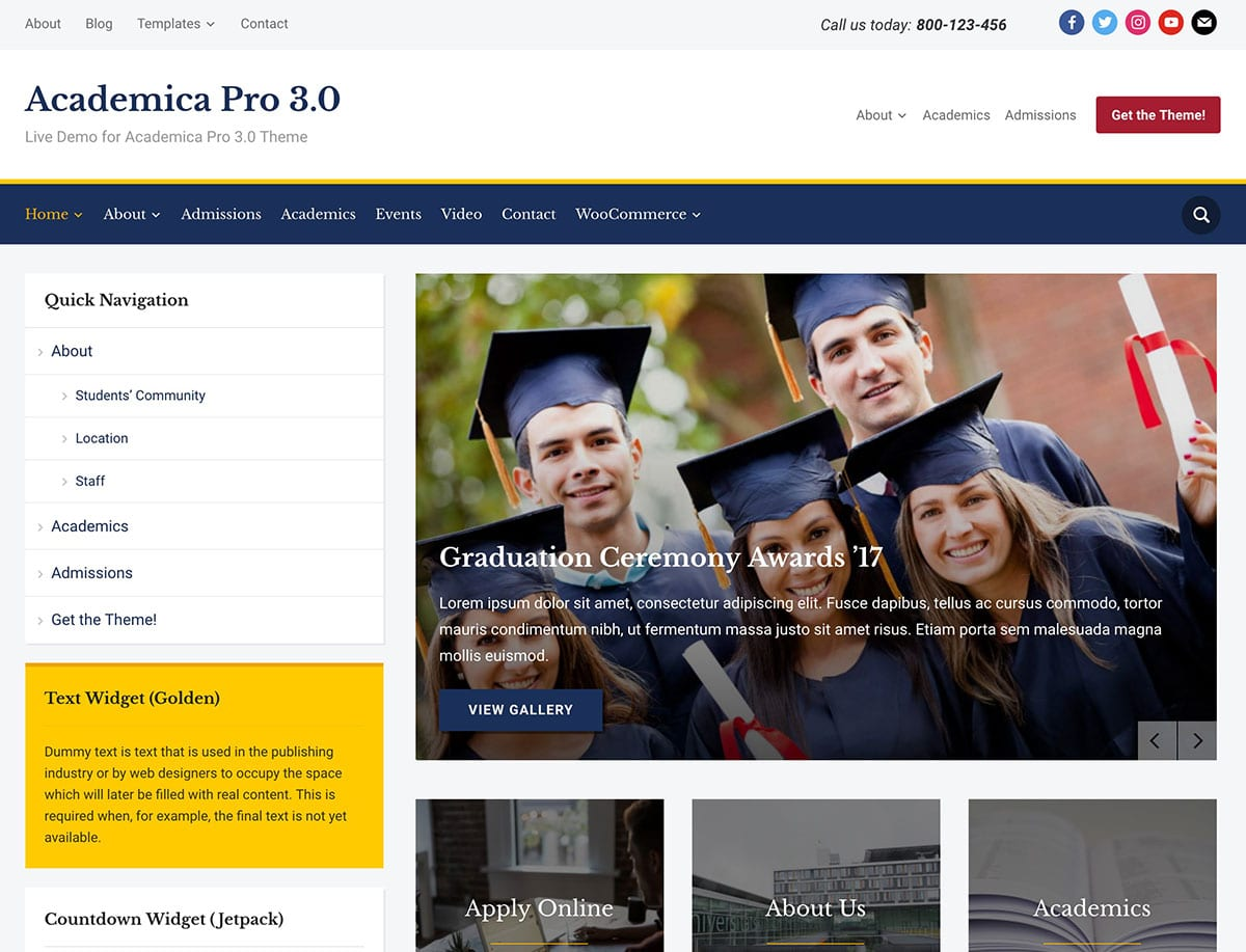 Academica-Pro-3.0 - 51+ Top Best WordPress Themes For Education [year]