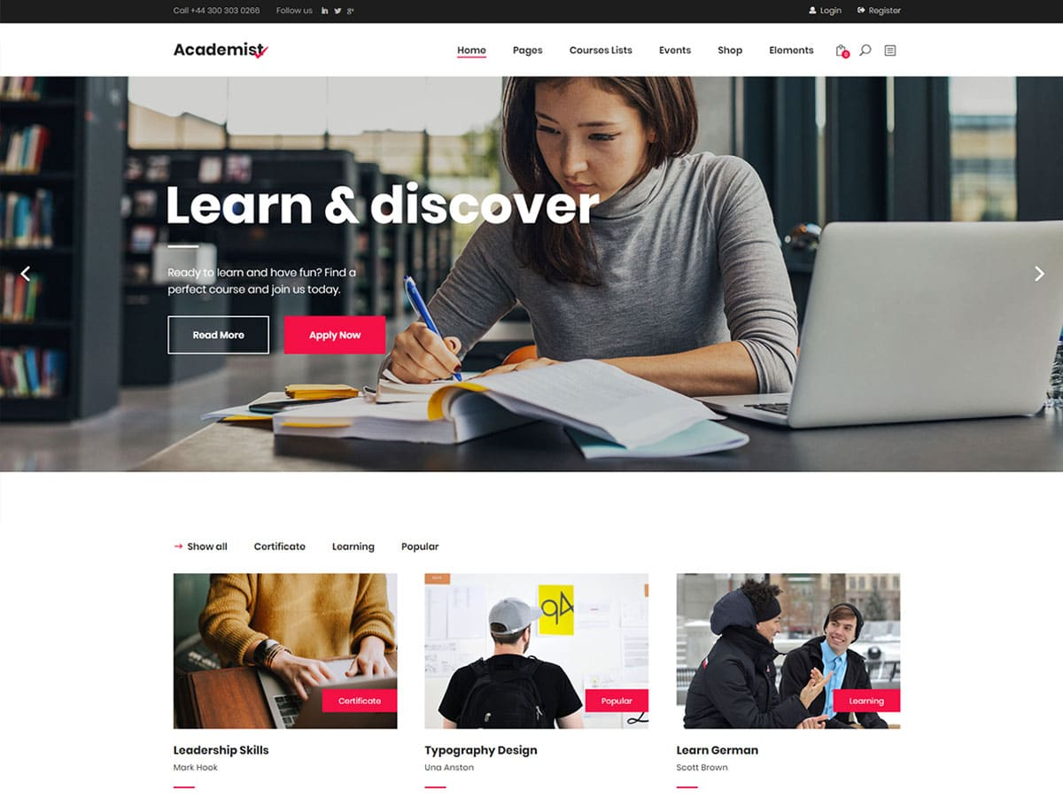 Academist - 51+ Top Best WordPress Themes For Education [year]