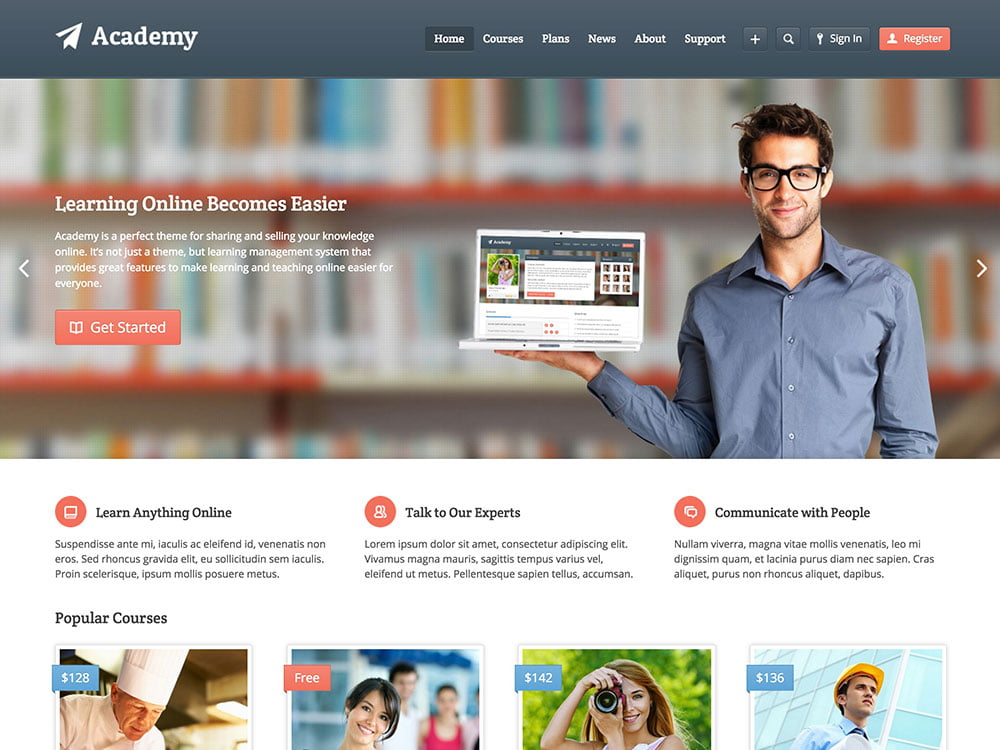 Academy - 51+ Top Best WordPress Themes For Education [year]