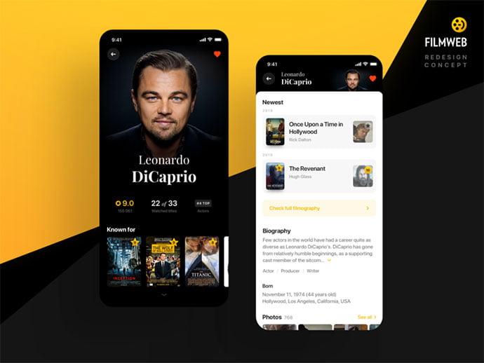 Actor-Screen-–-Filmweb-Concept - 63+ Amazing Film & TV App UI Design Sample [year]