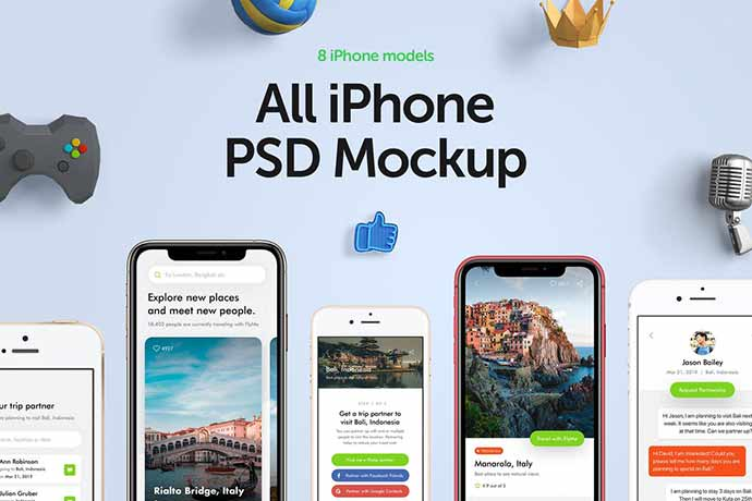 All-Iphone-Mockup-Collection - 51+ Amazing iOS and Android Phone PSD Mockup Templates [year]