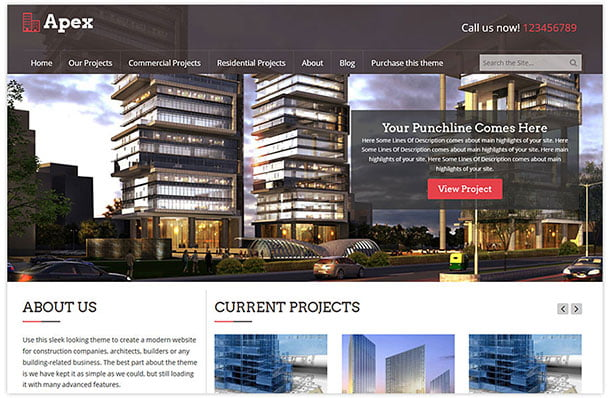 Apex - 37+ Top WordPress Themes For Construction Company [year]