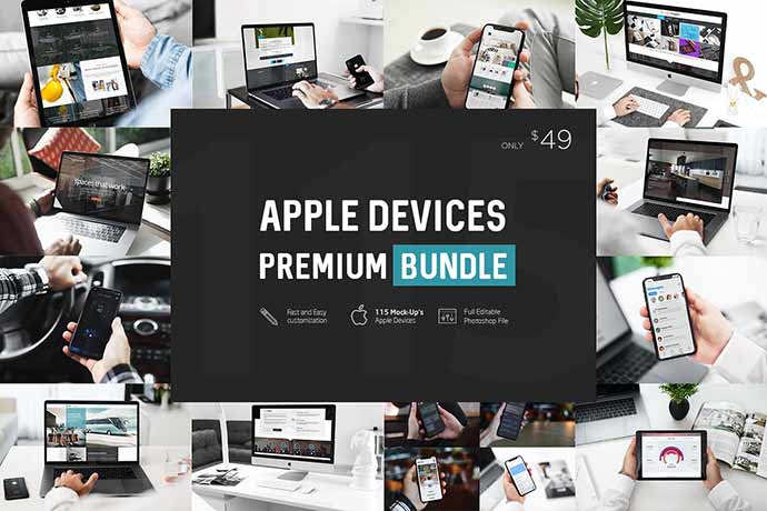 Apple-Devices-Premium-Bundle - 51+ Amazing iOS and Android Phone PSD Mockup Templates [year]