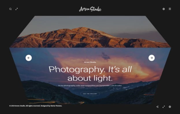 Arven - 31+ Top WordPress Themes For Landscape Photography Portfolio [year]