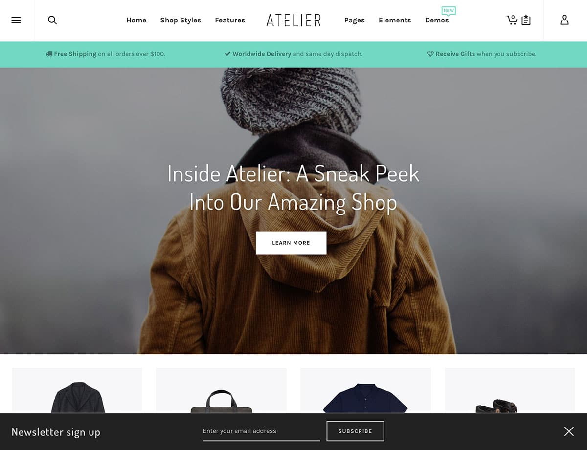 Atelier - 46+ Top Best WordPress Themes For Ecommerce [year]
