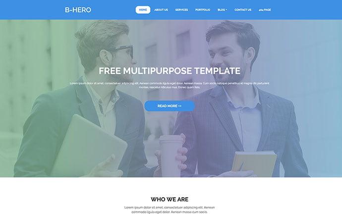 BHero - 65+ Amazing Free CSS HTML5 Website Design Templates [year]