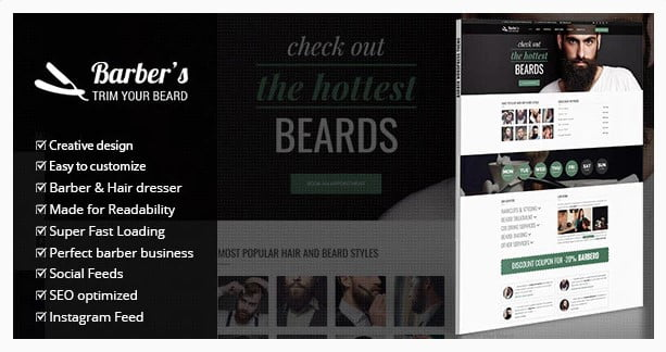 Barber-1 - 31+ Best Hairdresser & Portfolio WordPress Themes [year]