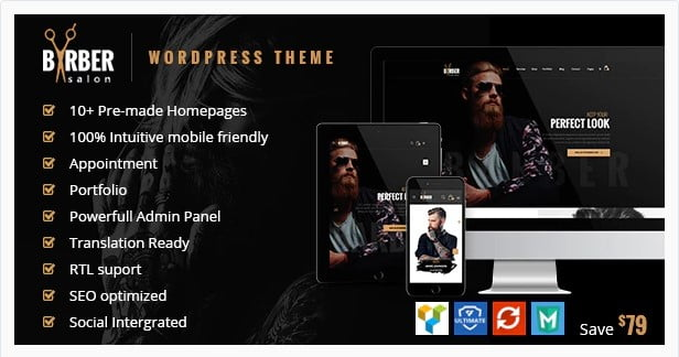 Barber - 31+ Best Hairdresser & Portfolio WordPress Themes [year]