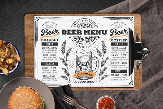 Beer-Menu-Template - 36+ Stunning Hand Drawn Restaurant Menu Design PSD Templates [year]
