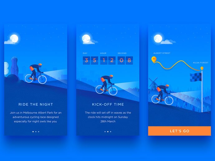 Bicycle-Event-Onboard - 51+ Best Free Onboarding UI Mobile App Sample [year]